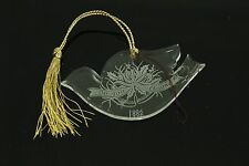 Vintage Engraved Glass Dove Christmas Ornament Holiday Tree Decoration