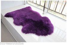 105x65cm Australian One Pelt Sheepskin Rug Purple 2x3' Soft Lambskin fur Carpet