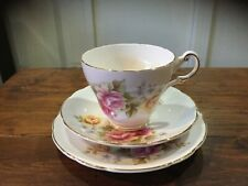 Vintage Regency Pink and Yellow Roses ENGLISH China Trio. Cup, Saucer & Plate