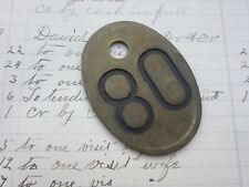 Vintage Number 80 Tag Cow Tag #80 Brass Metal Cattle Tag Year 1980 Keychain Fob