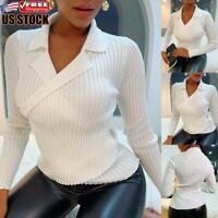 Womens V Neck T Shirt Tee Ladies Long Sleeve Slim Fit Plain Pullover Tops Blouse