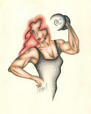 FEMALE BODY BUILDER Woman Figure Red Black Pastel Pencil Original Art Drawing