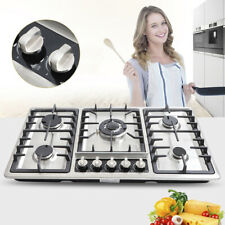 Built-In 5 Burners Stove Top Gas Cooktop Kitchen Gas Cooking Easy Clean 33.8