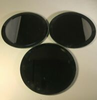"""G8 Set Of 3 6"""" Candle Holder Plates Footed Mirrored Circles"""