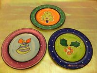 """MIKASA """"With Love"""" Vintage Set 3 CHRISTMAS Dessert Plates Made in Portugal RARE"""