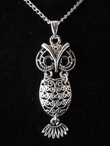GORGEOUS OWL NECKLACE.STERLING SILVER CHAIN OPTION OR GIFT SET WITH 925 EARRINGS