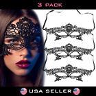 3 PAIRS Lace Masquerade Mask Venetian Mardi Gras Party Romance Halloween Black