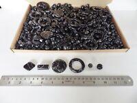 JOB LOT: One kilo (1 kg)  of Black/Silver Acrylic Beads - many shapes/sizes