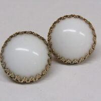 Vintage HASKELL Earrings White Cabochon Brass Designer Signed