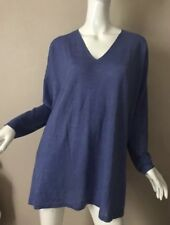 Eileen Fisher Merino Wool V-Neck Sweater Tunic in Blue - Size Medium EUC!!