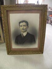 ANCIEN Photo artistique, DESSIN,CADRE bois doré,1910,PORTRAIT Homme guerre 1914