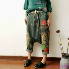 Drop Crotch Women's Harem Pants Trousers Denim Jeans Hole Baggy Fashion One Size
