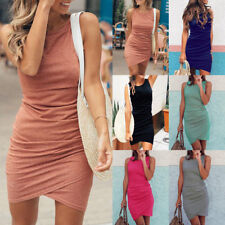 UK Womens Pleated Beach Split Wrap Asymmetric Sleeveless Party Ladies Mini Dress