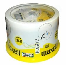 100PK CD-R 52x Blank Media 700mb Full Face Printable 80Min Maxell