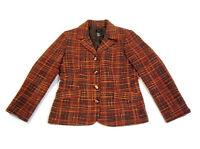 RQT Women's Jacket Blazer Button-Front Wool Blend Orange & Red Tweed Size 12