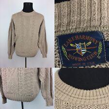 Vintage 90's Lake Harmony Rowing Club Men's Size Medium Tan Long Sleeve Sweater