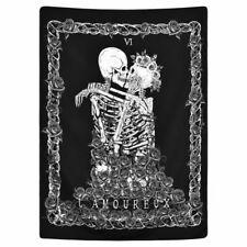 Skull Tapestry The Kissing Lover Wall Hanging Black Tarot Tapestry Home Decor