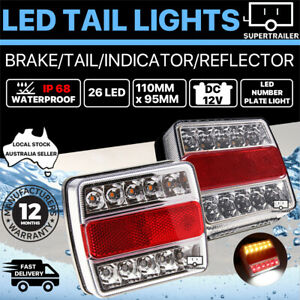 2X Submersible/Waterproof 26 LED Stop Tail Lights Kit Boat Truck Trailer lights