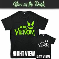 WE ARE VENOM GLOW IN THE DARK T-SHIRT, SPIDERMAN MARVEL MOVIES INSPIRED TEE TOP
