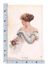 Harrison Fisher Postcard R&N 101 Odd Moments Beautiful Woman Kitten Cat Rose