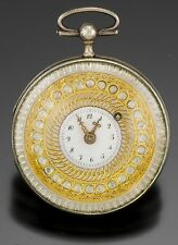 Antique Swiss .800 Silver Man's Pocket Watch CA1810s with Fancy Gold Dial