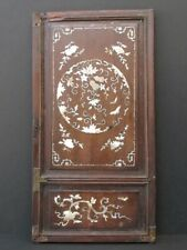 Antique Panel Carved Wooden Chinese, Inlay Mother-of-Pearl
