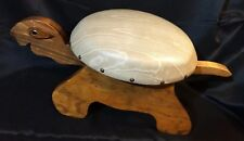 Adorable Folk Art TURTLE Wood Vinyl Nailhead Foot Stool Rest Ottoman STURDY Tail