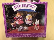 Hallmark Alice in Wonderland Merry Miniature figurines set of 5 1995 cat rabbit