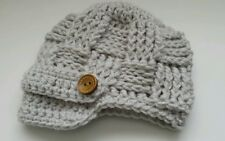 NEW Newborn Baby Newsboy Hat Crochet photo prop Gift Baby Boy GRAY