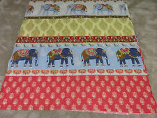 Indian Elephant Elephants red gold duck egg blue remnant fabric piece 120x110cm
