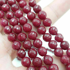 8mm Natural Faceted Ruby Jade Round Gemstone Loose Beads 15