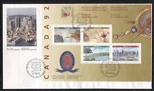 EXPLORATION, CARTIER, COLUMBUS ON CANADA 1992 Scott 1407a SOUVENIR SHEET, FDC