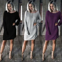 Fall Winter  Short Loose Top Long Sleeve Casual Women Sweater DressPlus Size