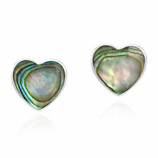 Love-Inspired Hearts Abalone Shell on Sterling Silver Stud Earrings