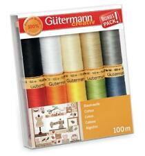 Gutermann Cotton Thread Set - 10x 100m Reels Mix Colours - Patchwork Quilting