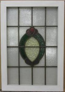 """MID SIZED OLD ENGLISH LEADED STAINED GLASS WINDOW Gorgeous Wreath 19"""" x 27.25"""""""