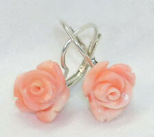 Pink Synthetic Coral Rose Flower 18KWGP Leverback Hook Earrings
