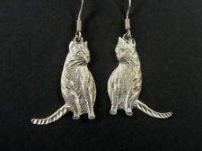 Textured Feline Cat Kitten Sterling Silver 925 Dangle Pierced EARRINGS