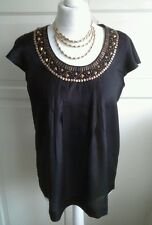 Ladies Black Silky Top with Gold Embellishments - Size 12