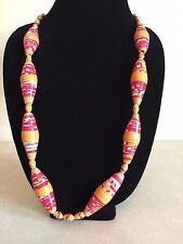 New - African Paper Bead Necklace In Orange Red & White From Kenya