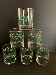 Lenox Holiday Holly Berry Double Old Fashioned Drink Glasses Rocks - Set 6