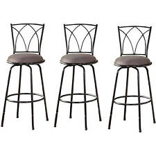 Black Bar Stools Set of 3 Patio pub table Chair Home Outdoor High Counter Swivel