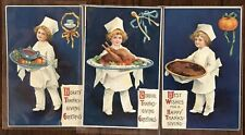 Lot of 3 Clapsaddle~Thanksgiving Postcards~Little Chefs with Turkey~Fruits-Pie