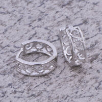 Infant Toddler Girls Safety lace White gold filled Teen earing Hoop Earing