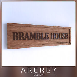 HOUSE PLAQUE PERSONALISED OAK ADDRESS SIGN CUSTOM ENGRAVED OUTDOOR WOODEN NAME