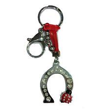 Porte-clés strass en forme de fer à cheval cavallo + coccinelle