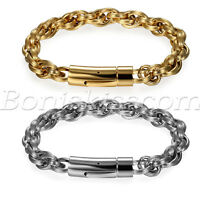 Mens Fashion Simple Polish Stainless Steel Braided Twisted Buckle Bracelet Chain