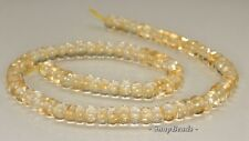 6X4MM  LEMON QUARTZ GEMSTONE GRADE AAA RONDELLE LOOSE BEADS 7.5""