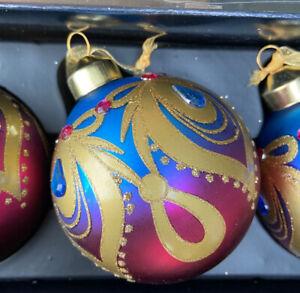 6 x Jewel Pink & Purple Peacock Glass Christmas Tree Baubles 8cm Sparkle Finish