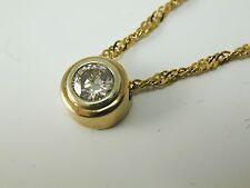 "Diamond solitaire necklace pendant 18 carat gold 0.28cts Certificate 1/2"""